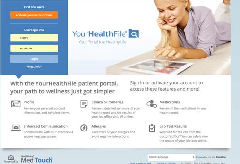 MediTouch Patient Web Portal