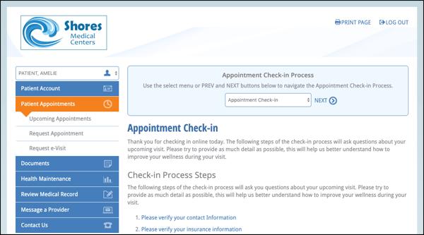 Patients verify their information before the e-visit begins in NextGen Office EHR