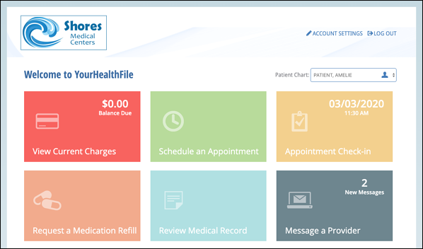 Patient selects the Appointment Check in tile on their patient portal