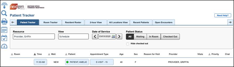 Begin your NextGen Office EHR telemedicine visit from the patient tracker window