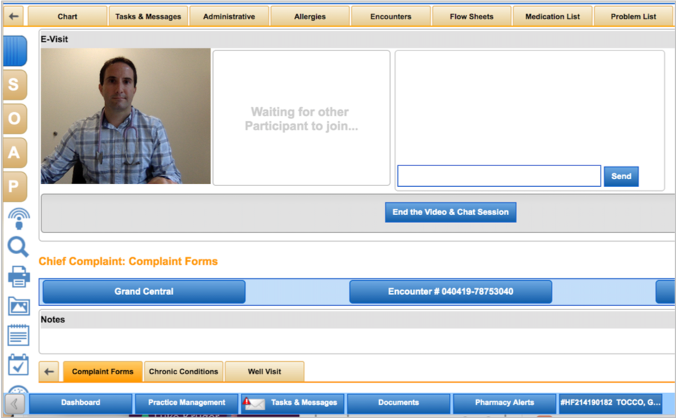 The provider waits in the NextGen Office EHR telemedicine module for the patient to join