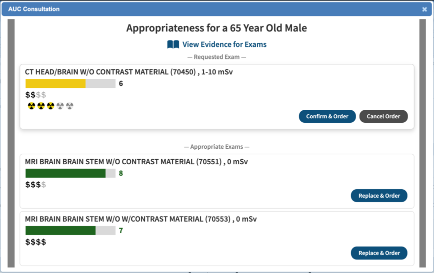 NextGen Office provides you with the option to confirm or cancel based on the AUC results