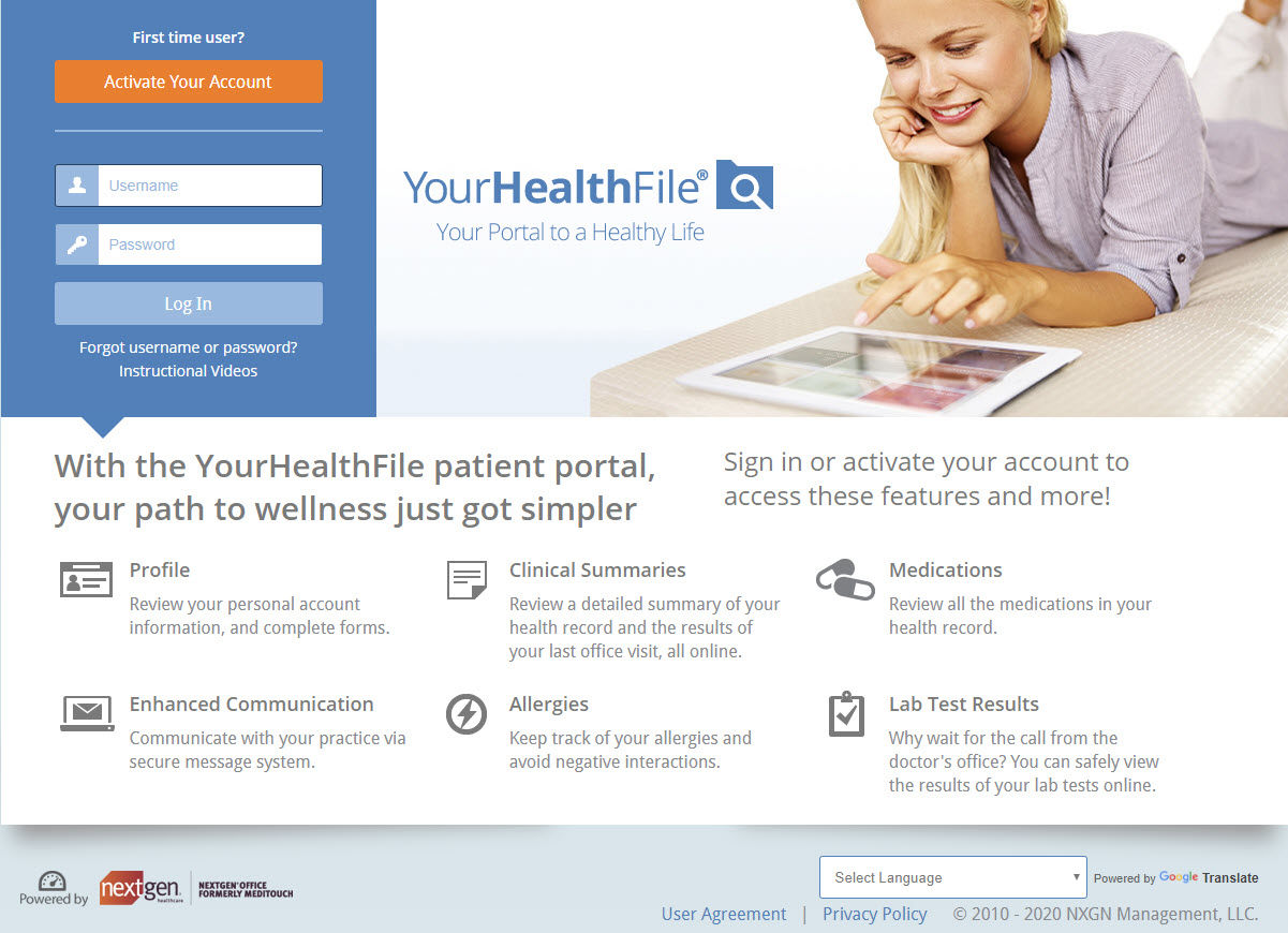 Patient using the nextgen office patient portal to access their medical record and participate in their own care